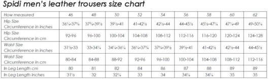 Spidi-mens-leather-trousers-size-chart